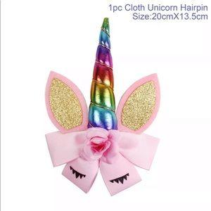 Pink with rainbow horn Hair Clip 🦄